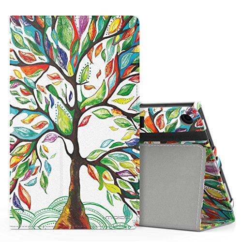 MoKo Hülle für All-New Amazon Fire HD 8 Tablet (7th und 8th Generation – 2017 und 2018 Modell) - Kunstleder Ständer Schutzhülle Smart Cover mit Stift-Schleife, Glück Baum