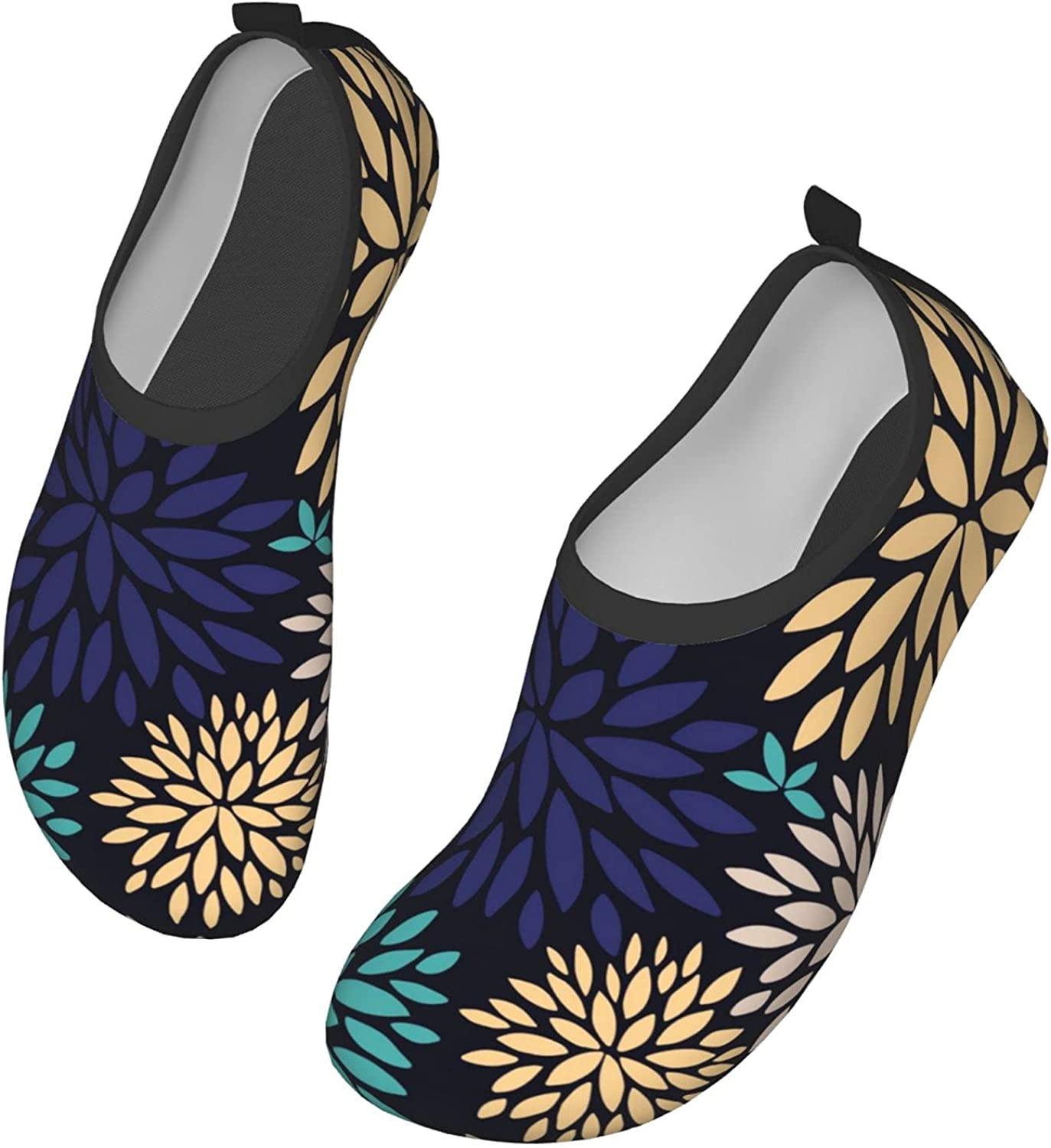 DISGOWONG Bright Color Pattern Flowers Water Shoes Outdoor Quick-Dry Aqua Yoga Socks Beach Pool Shoes Beach Swim Sports for Women and Men 15 inch