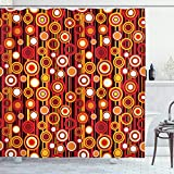 Ambesonne Abstract Shower Curtain, Vertical Lines and Circle Pattern Stripes Nostalgia Contrast Warm Colors, Cloth Fabric Bathroom Decor Set with Hooks, 70' Long, Mustard Orange