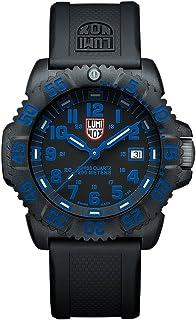 ساعة رجالي من لومينوكس، لون أسود وأزرق (سلسلة XS.3053) - مقاومة للماء 200 متر ومؤشر لليوم التاريخ، حافظة كربونية خفيفة الوزن