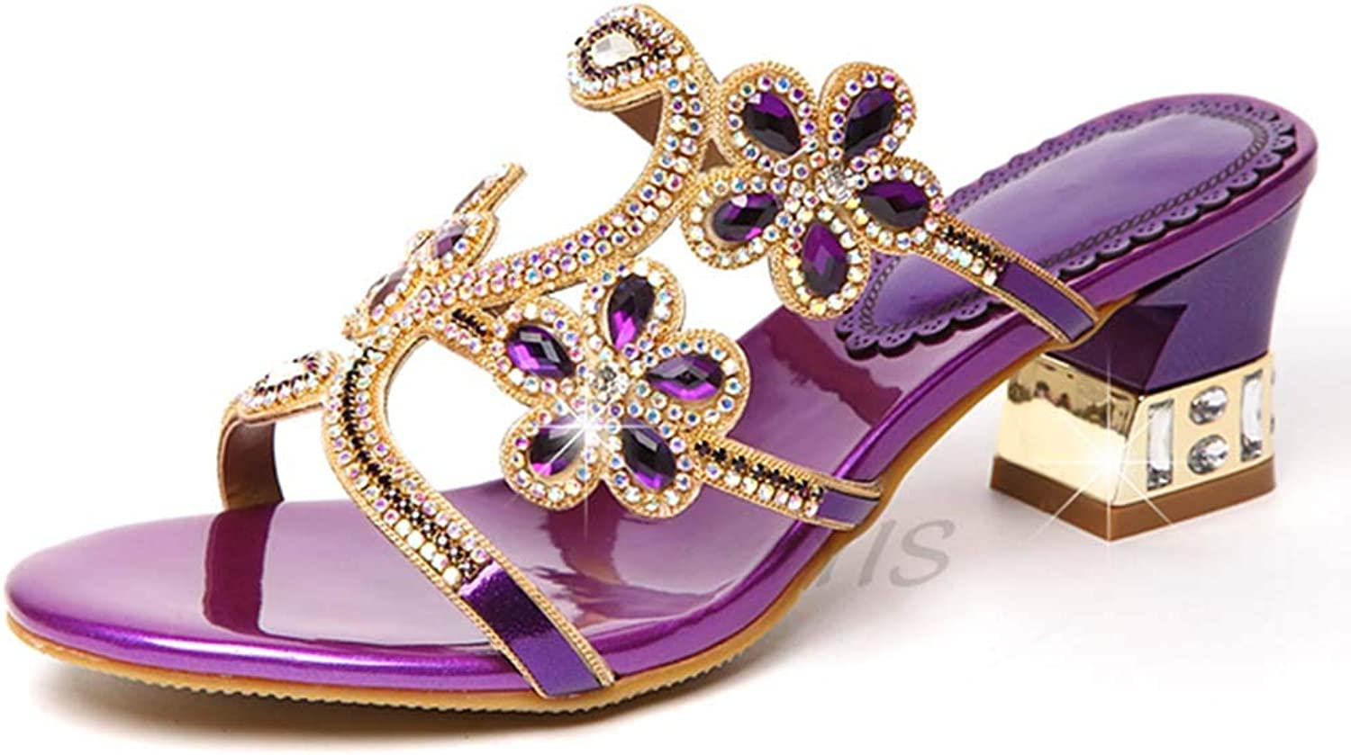 Women's Slippers Rhinestone Leather High-Heeled Sandals Non-Slip Thick with Crystal Fashion wear a Word Slippers Summer New