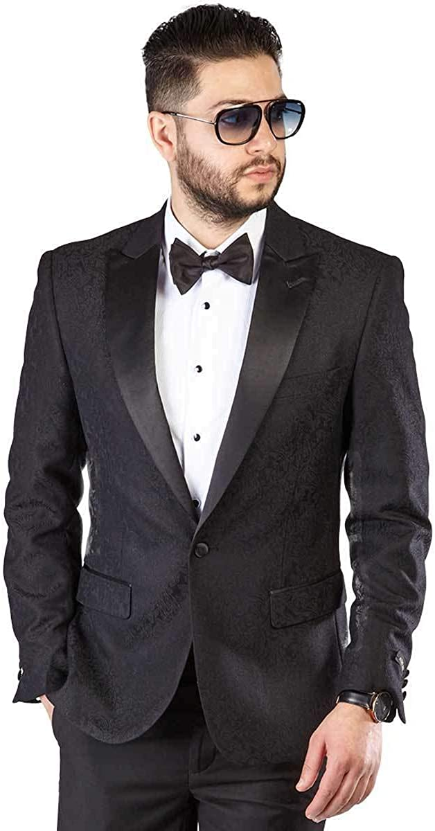 Slim Fit 1 Button Tuxedo Paisley Dinner Jacket Peak Satin Lapel Sport Blazer by AZAR 1778