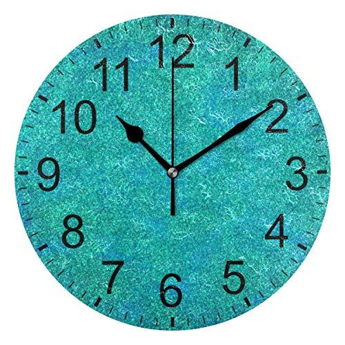 SENNSEE abstrakte türkise Wanduhr dekorative Wohnzimmer Schlafzimmer Küche batteriebetriebene runde Uhr Kunst für Home Decor Einzigartig
