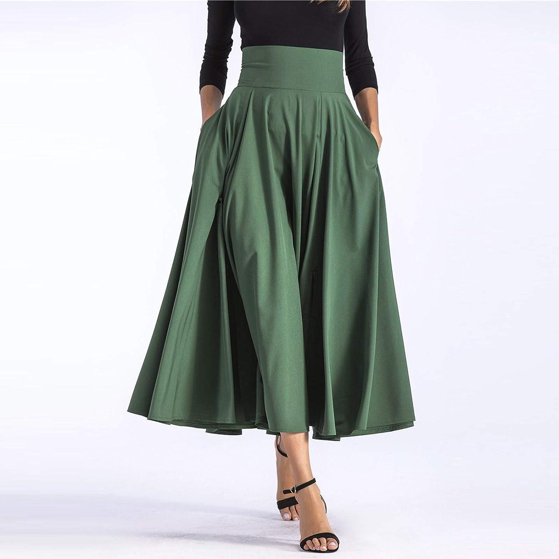 SoonerQuicker Midi Jupe Pliss/ée de Femmes Vintage De A-Ligne Taille Haute Longue avec Poches