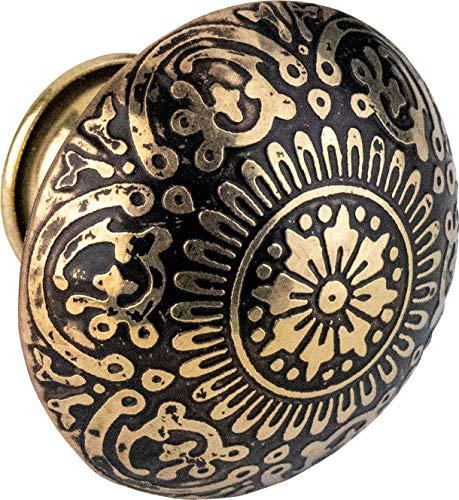 youngschwinnDESIGN - Möbelknopf aus Metall brüniert | Durchmesser: 37mm | Schrankknopf, Schubladenknopf| Incl. Schrauben