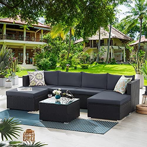 Tribesigns Rattan Garden Furniture Set, 7 Piece Outdoor Garden Furniture Corner Sofa Set, Modular Patio Conversation Set (Black/Grey)