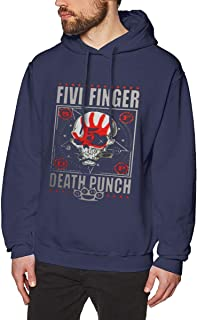 Men's Hood with No Pocket Sweater Vintage Unique Pants Five Finger Death Punch Tour 2016 Concert Logo Navy