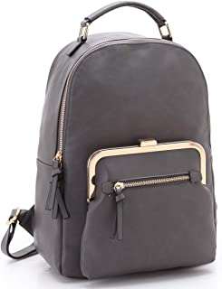 Dasein Women's Backpack Purse Girls Teens Casual Shoulder Bags Travel School Backpacks with Zipper Closure (7565-Grey)