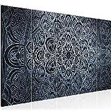 Runa Art Wandbild XXL Mandala Abstrakt 200 x 80 cm Schwarz