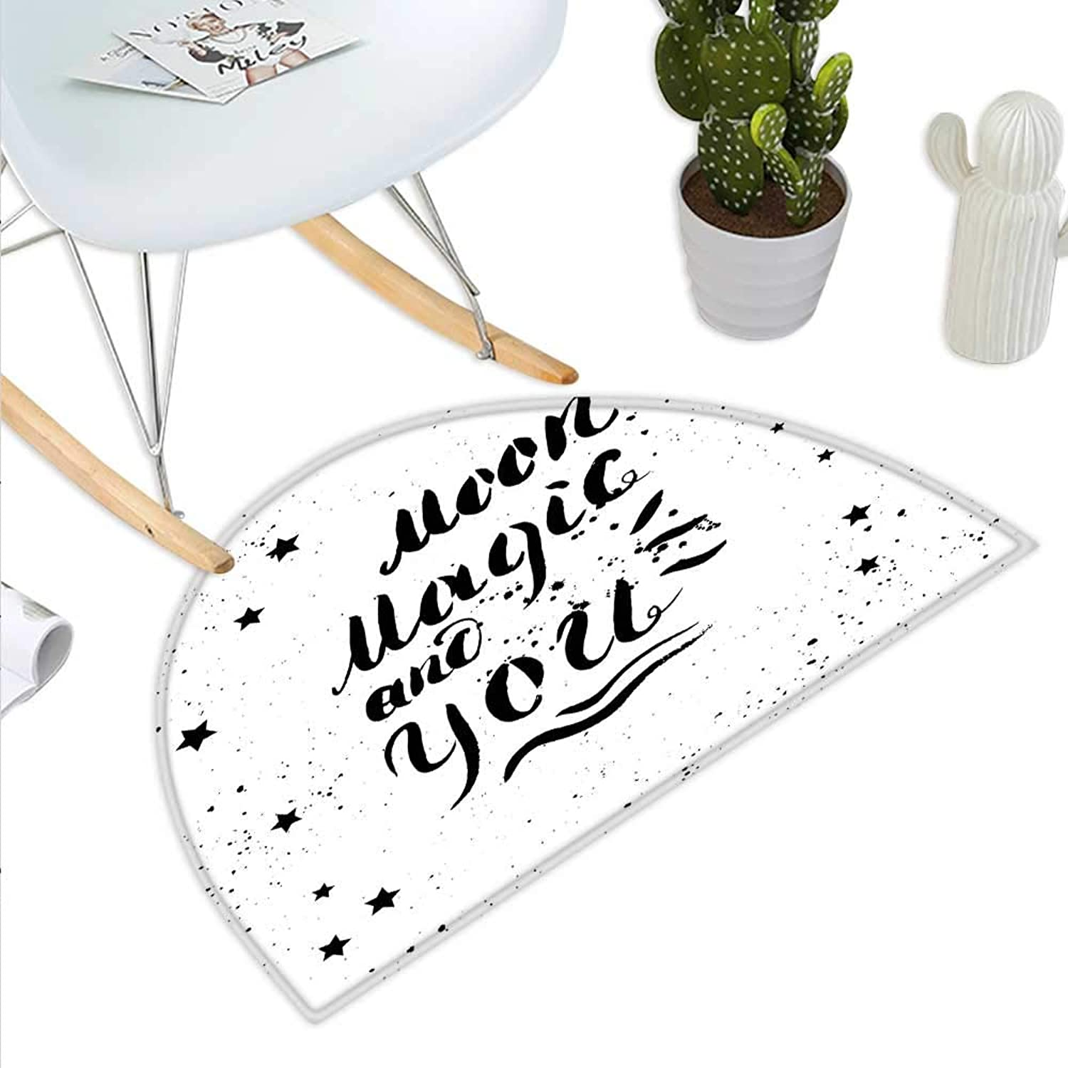 Romantic Semicircle Doormat Moon Magic and You Inspirational Messy Modern Brush Pen Calligraphy with Stars Halfmoon doormats H 43.3  xD 64.9  Black White