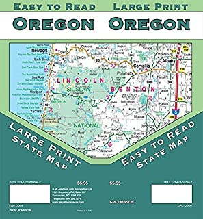 Oregon Large Print State Map