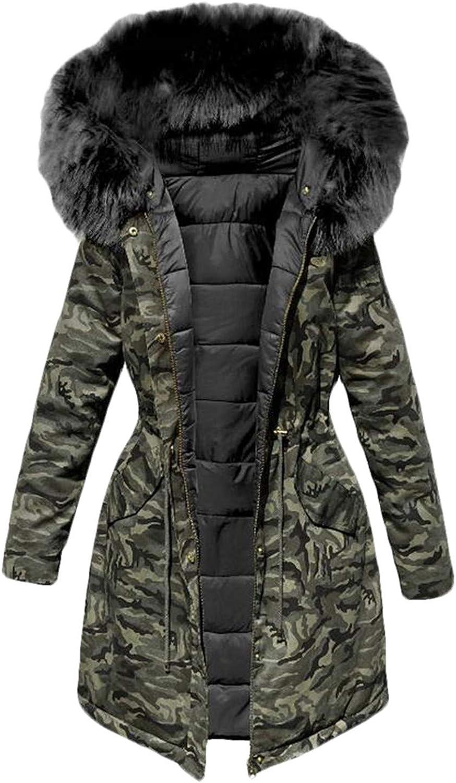 UUYUK Women FullLength Camo Print Quilted Faux Fur Collar Slim Fit Down Coat