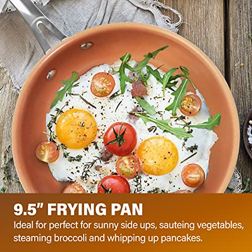 "Gotham Steel 9.5"" Frying Pan, Nonstick Copper Frying Pans with Durable Ceramic Coating, Nonstick Frying Pans, Nonstick Skillet, Copper Pans Nonstick, Egg Pan, Omelet Pan Cookware 100% PFOA Free"