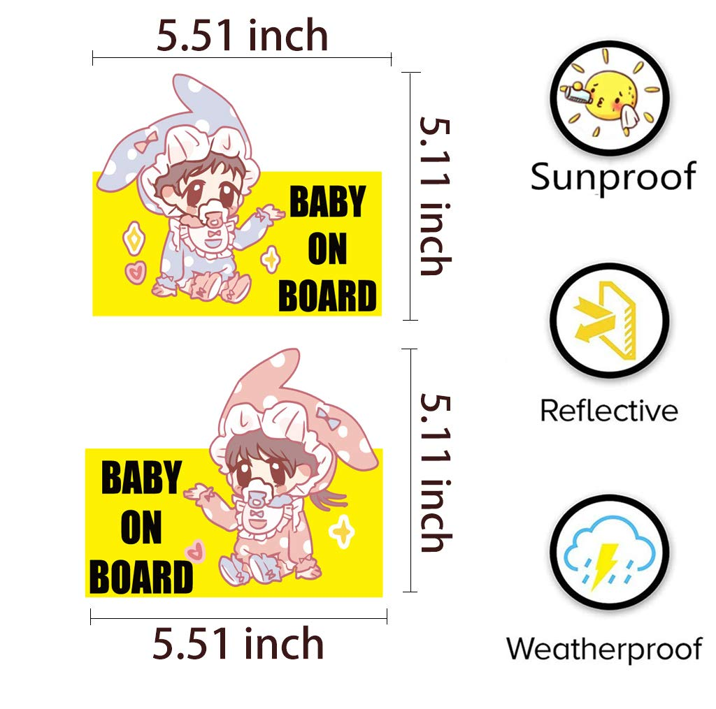 Baby on Board Sign for Car, New Upgrade Kids Safety Sticker (2 Pieces)
