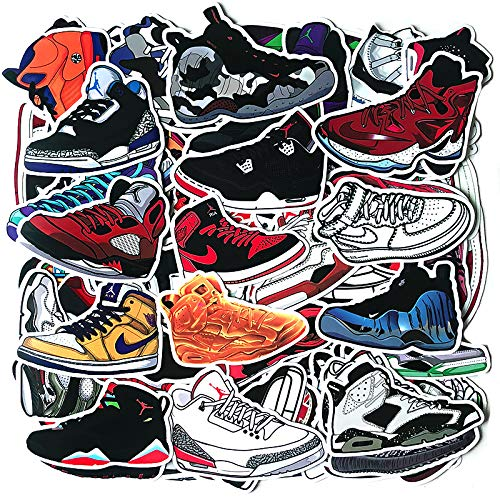 100 PCS Basketball Shoes Stickers, Sport Waterproof Waterbottle/Laptop Stickers, Cool/Trendy Vinyl Decal for Teen Kids Adults, Perfect for Phone Travel Case Computer Notebook Snowboard Guitar