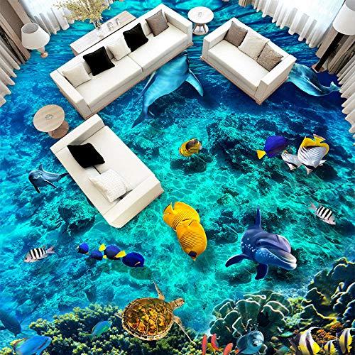 Foto Wallpaper 3D onderwater wereld vloertegels muurschilderingen badkamer kinderen slaapkamer vloerbedekking wallpaper PVC wear antiskid Home Decor zelfklevend 300cm(L)x210cm(W)