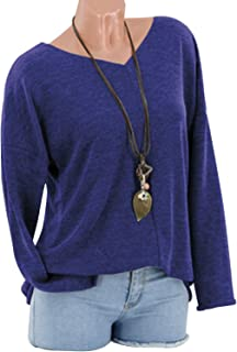 LUKEEXIN Women's Casual V-Neck Long Sleeve Solid Color T-shirt