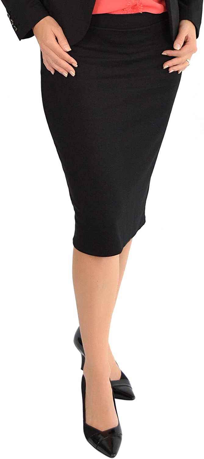 Stretch is Comfort Women's Knee Length Pencil Skirt Slit