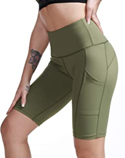TYUIO High Waist Workout Yoga Shorts for Women Running Biker Shorts with Pockets