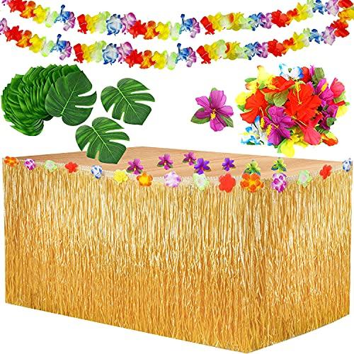 Yojoloin 39 Pcs Hawaiano Luau Falda de Mesa Set de decoración, Decoración de Fiesta Tropical de 9.6FT,Hojas de Palmera, Flores Hawaianas, pancartas Luau Decoraciones para la Fiesta temática de Hawai.