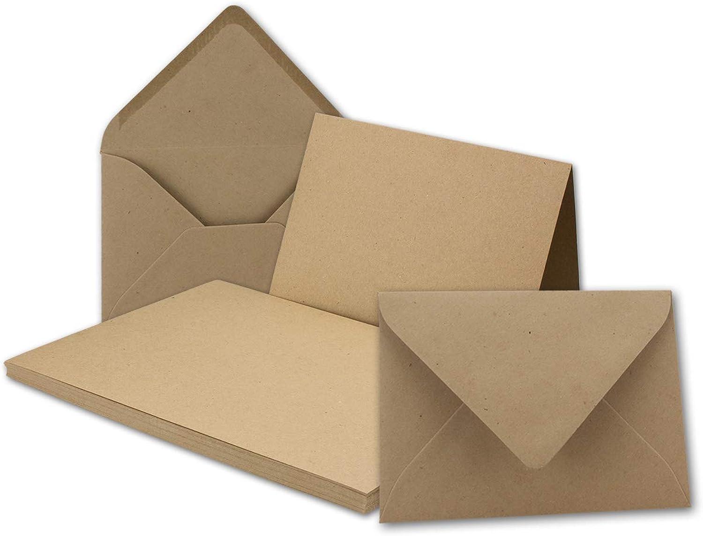 100x Vintage Kraftpapier Falt-Karten Set mit Umschlägen DIN B6-120 x 169 mm - braun - Recycling - Klapp-Karten blanko I Umwelt by Gustav NEUSER® B07GGX5ZBR | Neuheit Spielzeug