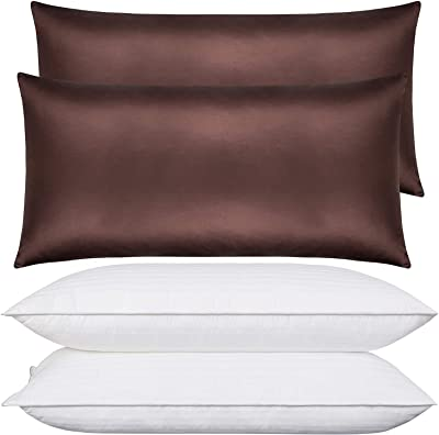 NTBAY Bundle of Satin Pillowcases and King Size Pillows, Chocolate