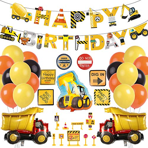 Bagger Geburtstag Deko,Baustelle geburtstag Party Dekoration,Happy Birthday Deko,Bagger Luftballons Baufahrzeug Feuerwehrauto Folienballons