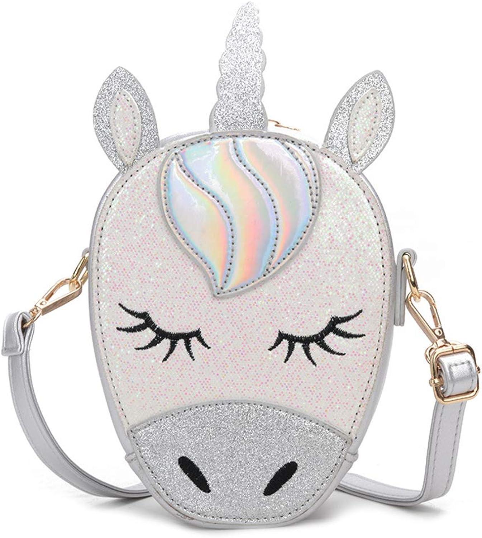 3D Glitter Unicorn Crossbody Purse Bag for Teens Girls Women Novelty Handbag