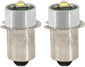 JESLED Upgrade LED Flashlight Bulb - (Pack of 2) 3W 247LM, DC5-24Volt, 12V 18V 19.2V, PR2 P13.5S High Power CREE LED Conversion Kit for DEWALT Torch Tooling Lantern Work Light Maglit Bulbs Replacement
