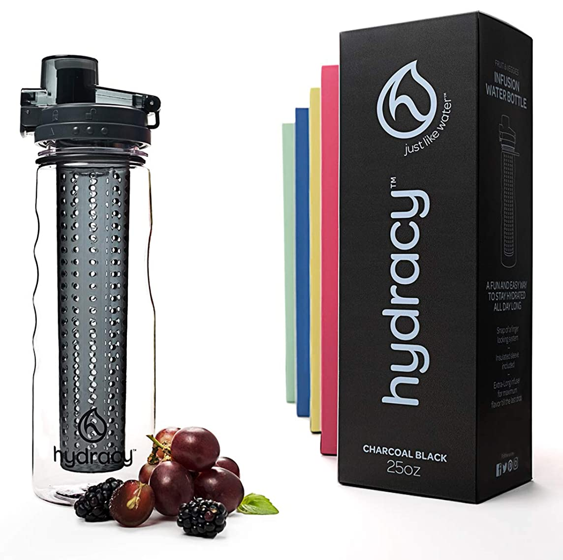 Hydracy Fruit Infuser Water Bottle - 25 Oz Sports Bottle with Full Length Infusion Rod and Insulating Sleeve Combo Set + 27 Fruit Infused Water Recipes eBook Gift - Your Healthy Hydration Made Easy