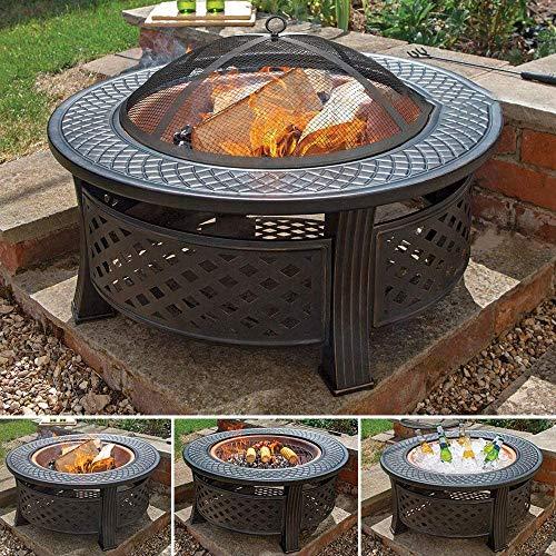 CRZJ hoguera de metal multifuncional 3 en 1 para jardín, barbacoa de jardín, brasero redondo, estufa de patio