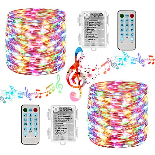 Battery Christmas Lights 2 Packs 33ft 100 LED Sound Activated Fairy Lights, with Remote, Timer, Waterproof Battery String Lights for Xmas Tree, Party, Home, Holiday, Christmas Decorations (Multicolor)