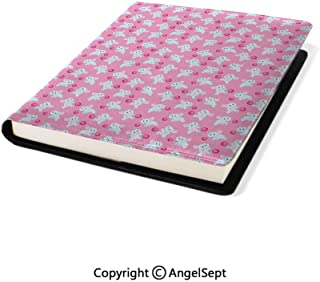 Stretchable Book Cover Design,Kids Girls Design Pattern with Happy Baby Animals Joyful Fun Playing Dots Pink Baby Blue,9