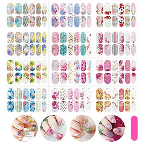 MWOOT Selbstklebend Nagelfolie, 12 Stück Nagelsticker Blumen, DIY Nagelkunst Nageldesign Nagelaufkleber für Schnell&Einfach Maniküre, Nagel Klebefolien - Glitzer Blumen Styles