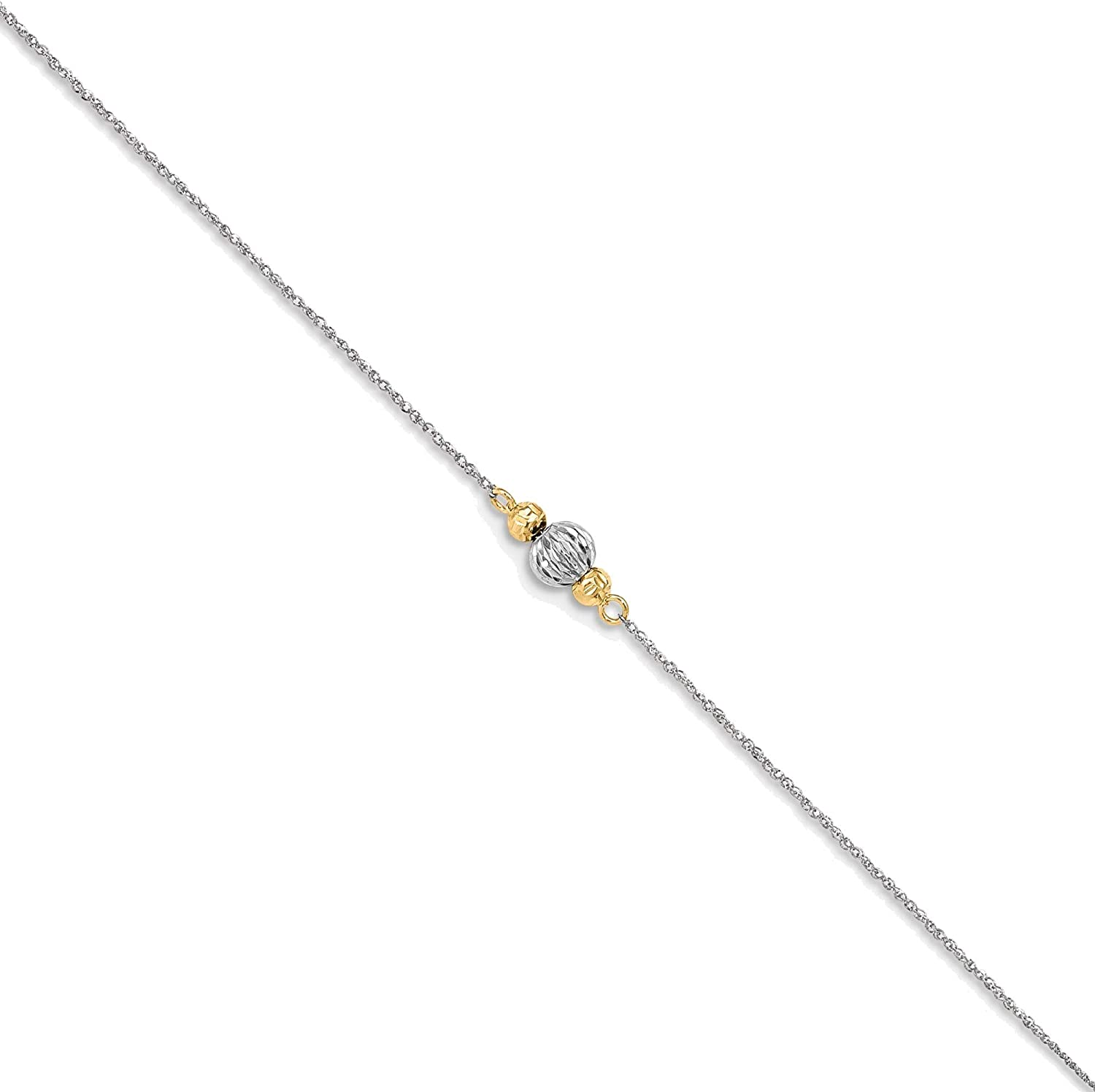 Bonyak Jewelry 14K White Gold Ropa Two-Tone Diamond Cut Bead 9in Plus 1in Ext. Anklet