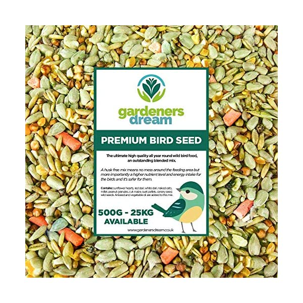 GardenersDream Premium Wild Bird Food | No Mess Garden Birds Feed Mix | Contains Berry Suet Pellets and Sunflower Hearts and Kibbled Peanuts | Enhanced Seed Mixture | High Energy Balanced Recipe