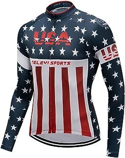 Weimomonkey Men's Cycling Jersey USA Bicycle Shirts Long Sleeve Bike Jersey Full Zipper