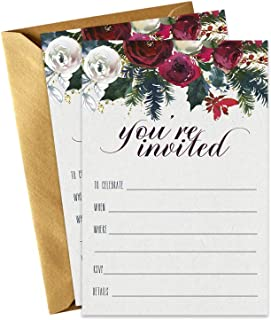 Winter Floral Christmas Party Invitations with Gold Envelopes (15 Pack) Fill in Blank Invites for Holiday Parties, Weddings, Elegant Cocktail Dinner Festive Celebrations