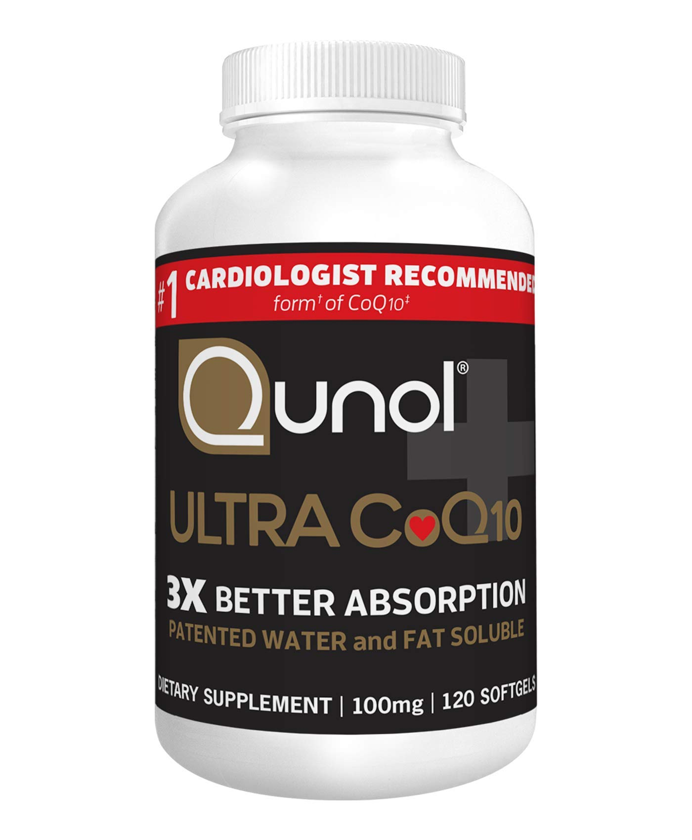 Qunol Ultra CoQ10 100mg, 3x Better Absorption, Patented Water and Fat Soluble Natural Supplement Form of Coenzyme Q10, Antioxidant for Heart Health, 120 Count Softgels