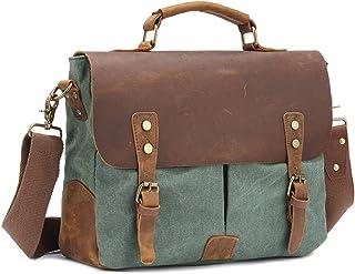 Men's Accessories Brown/Grey/Green/Khaki,Office Canvas Retro Style Briefcase Shoulder Strap Crossbody Crossbody Men Business Bag Outdoor Recreation (Color : Brown)