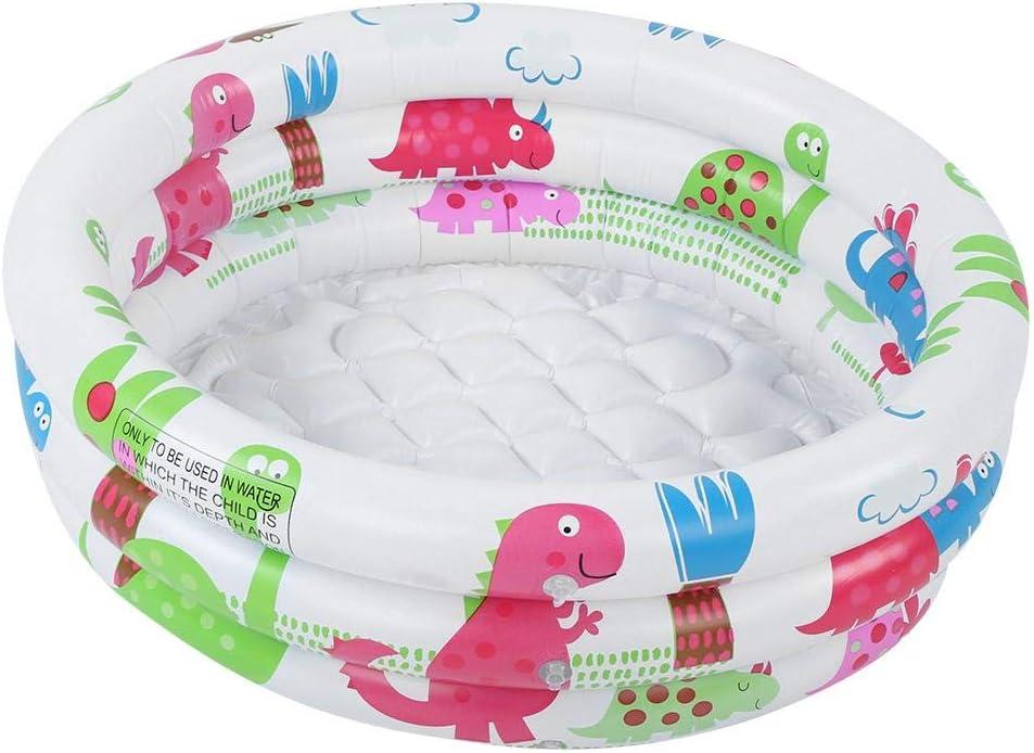 Patrón de dinosaurio de dibujos animados redondo de PVC piscina inflable bañera para niños