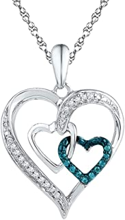 Triple Heart Enhanced Blue Diamond Pendant Necklace in Sterling Silver 1/10 Carat (ctw)