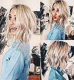 VEBONNY Blonde Kurze Bob welliges Haar Perücken braune Wurzeln 12 inch VEBONNY-031-12