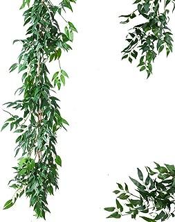 Atphfety Artificial Greenery Garland Faux Silk Willow Leaves Vines Wreath Wedding Backdrop Wall Decor Flower Arrangement