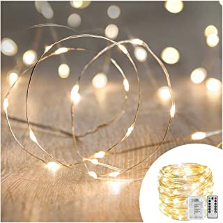 ANJAYLIA 33ft 100 LED Fairy String Lights Battery Operated Christmas Lights with Remote Timer Waterproof 8 Modes Twinkle F...