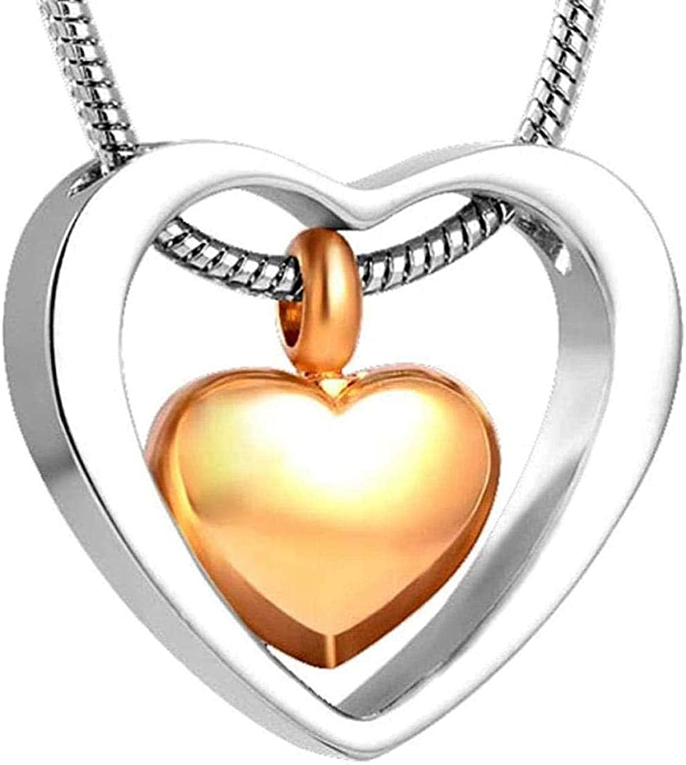 Ashes Chain Urn and Ashes Double Heart Rose Gold Cremation urn Ashes Necklace Pendant Funnel Souvenir Souvenir Ashes-Pendant