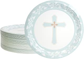 Disposable Plates - 80-Count Paper Plates, Religious Party Supplies for Appetizer, Lunch, Dinner, and Dessert, 9 Inches in Diameter