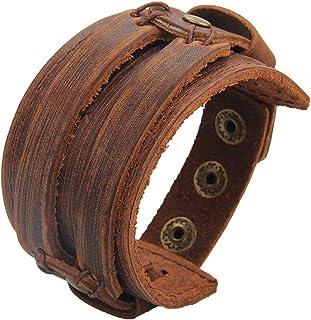 Bfiyi Punk Leather Cuff Bracelets Adjustable Strap Wrap...