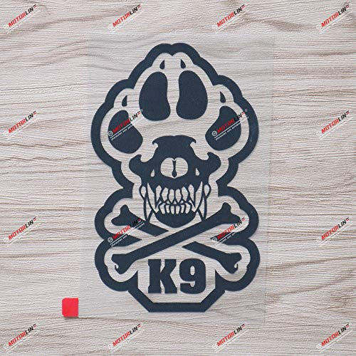 6'' Black K-9 Unit Decal Sticker K9 Police Dog Paw Bone Car Vinyl die-Cut no Background