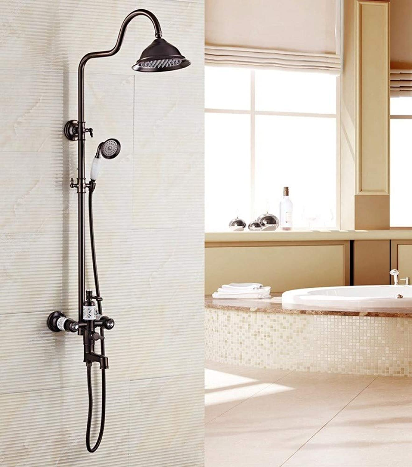 GZF Luxury NEW Antique Brass Rainfall Shower Faucet Set + Single Lever Mixer + Hand Shower Wall Mounted,black